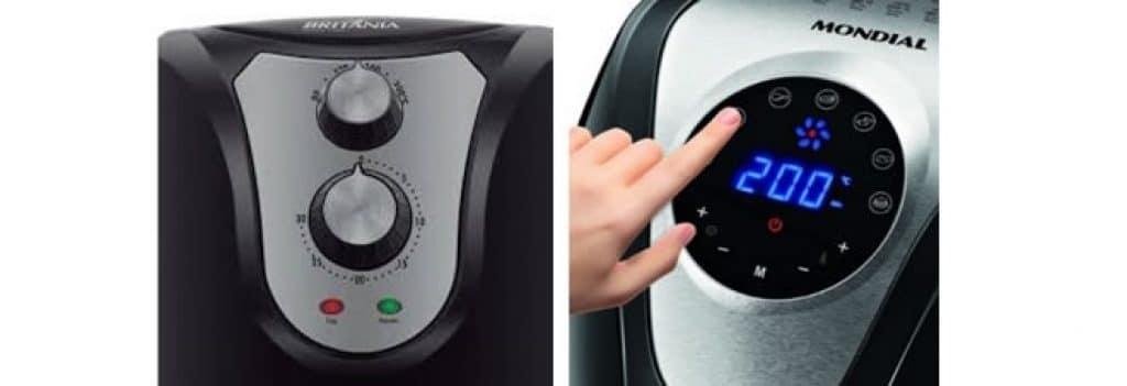 Painel analógico X digital comparando a melhor fritadeira elétrica